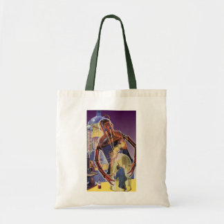 Vintage Science Fiction Robot with Laser Beam Eyes Tote Bag