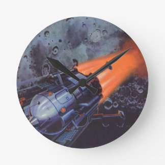 Vintage Science Fiction, Rocket Blasting Off Moon Round Wallclocks