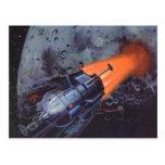 Vintage Science Fiction, Rocket Blasting Off Moon Postcard