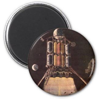 Vintage Science Fiction Rocket Blasting Off Planet Magnet