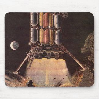 Vintage Science Fiction Rocket Blasting Off Planet Mouse Pad