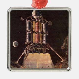 Vintage Science Fiction Rocket Blasting Off Planet Christmas Ornaments
