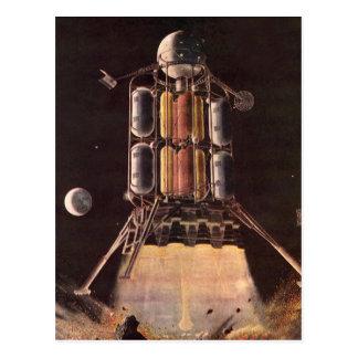 Vintage Science Fiction Rocket Blasting Off Planet Post Card