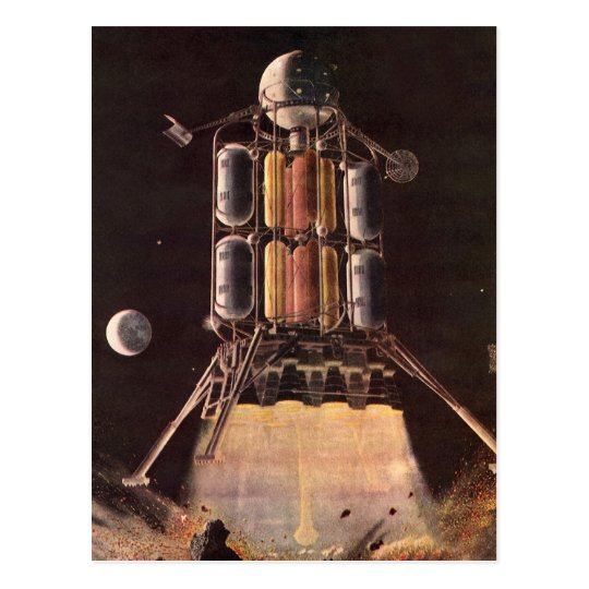 Vintage Science Fiction Rocket Blasting Off Planet Postcard
