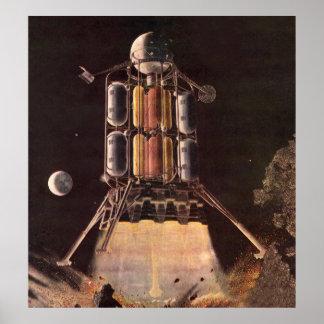 Vintage Science Fiction Rocket Blasting Off Planet Print