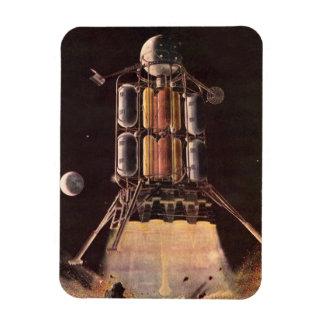 Vintage Science Fiction Rocket Blasting Off Planet Rectangle Magnets