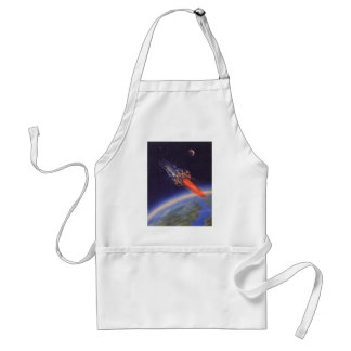 Vintage Science Fiction Rocket in Space over Earth Standard Apron