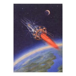 Vintage Science Fiction Rocket in Space over Earth Card