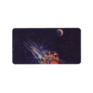 Vintage Science Fiction Rocket in Space over Earth Label