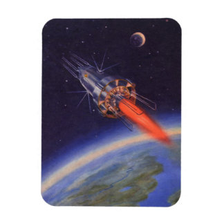Vintage Science Fiction Rocket in Space over Earth Magnet
