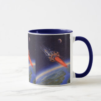 Vintage Science Fiction Rocket in Space over Earth Mug