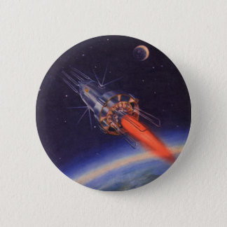 Vintage Science Fiction Rocket in Space over Earth Pinback Button