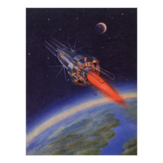 Vintage Science Fiction Rocket in Space over Earth Poster
