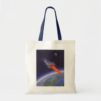 Vintage Science Fiction Rocket in Space over Earth Tote Bag