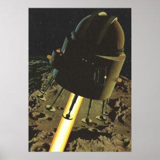 Vintage Science Fiction, Rocket Landing on Moon Poster