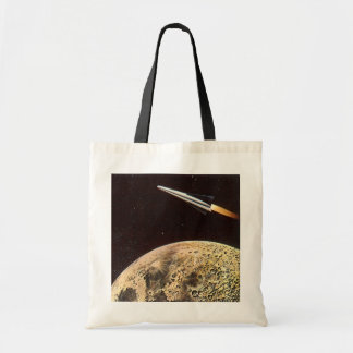 Vintage Science Fiction Rocket Over the Moon Earth Budget Tote Bag