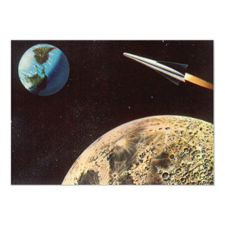 """Vintage Science Fiction Rocket Over the Moon Earth 5"""" X 7"""" Invitation Card"""