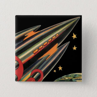 Vintage Science Fiction Rocket Ship by Space Stars Button