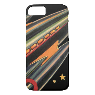 Vintage Science Fiction Rocket Ship by Space Stars iPhone 8/7 Case