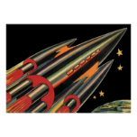 Vintage Science Fiction Rocket Ship by Space Stars Poster