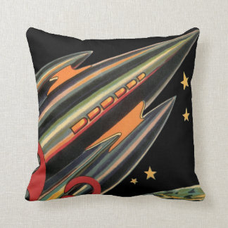Vintage Science Fiction Rocket Ship by Space Stars Throw Pillow
