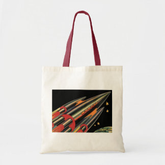 Vintage Science Fiction Rocket Ship by Space Stars Tote Bag