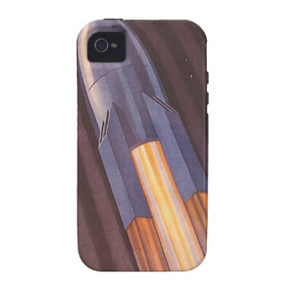 Vintage Science Fiction Rocket Ship in Space iPhone 4 Cover