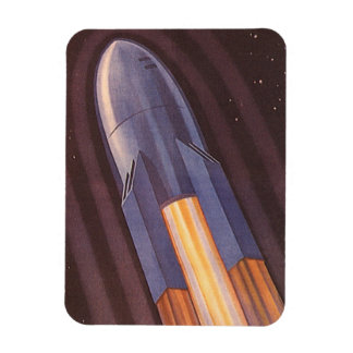 Vintage Science Fiction Rocket Ship in Space Rectangular Photo Magnet