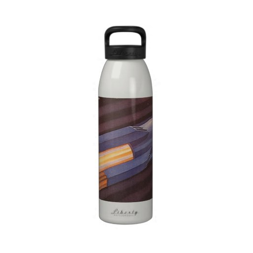 Vintage Science Fiction Rocket Ship in Space Reusable Water Bottle