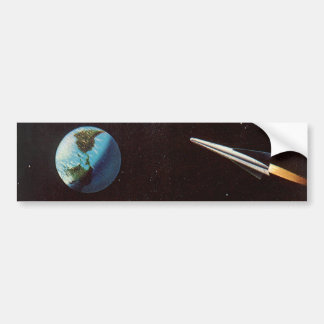 Vintage Science Fiction, Rocket Ship Over the Moon Bumper Sticker