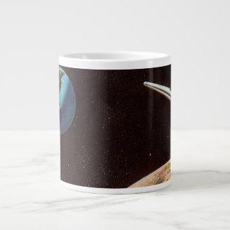 Vintage Science Fiction, Rocket Ship Over the Moon Giant Coffee Mug