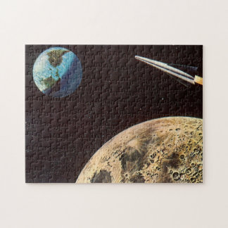 Vintage Science Fiction, Rocket Ship Over the Moon Jigsaw Puzzle