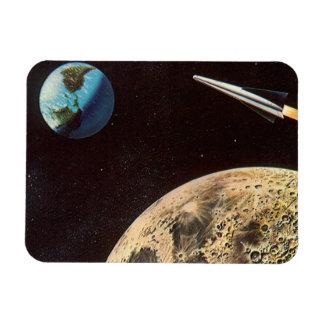 Vintage Science Fiction, Rocket Ship Over the Moon Magnet