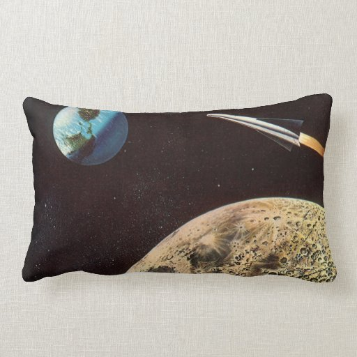Vintage Science Fiction, Rocket Ship Over the Moon Pillow