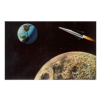 Vintage Science Fiction, Rocket Ship Over the Moon Poster