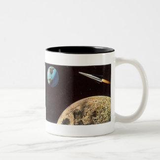 Vintage Science Fiction, Rocket Ship Over the Moon Two-Tone Coffee Mug