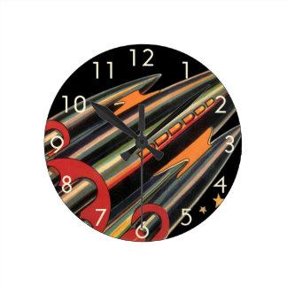 Vintage Science Fiction Rocket Ship, Space, Stars Round Clock
