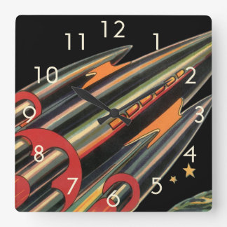 Vintage Science Fiction Rocket Ship, Space, Stars Square Wall Clock