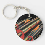 Vintage Science Fiction Rocket Ship, Space, Stars Round Acrylic Keychain