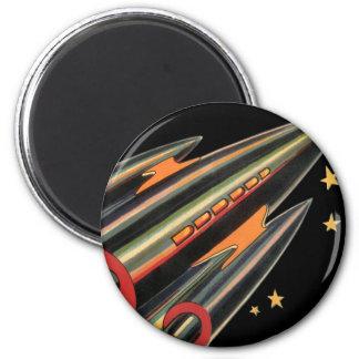 Vintage Science Fiction Rocket Ship, Space, Stars Refrigerator Magnets