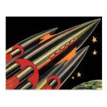 Vintage Science Fiction Rocket Ship, Space, Stars Postcard