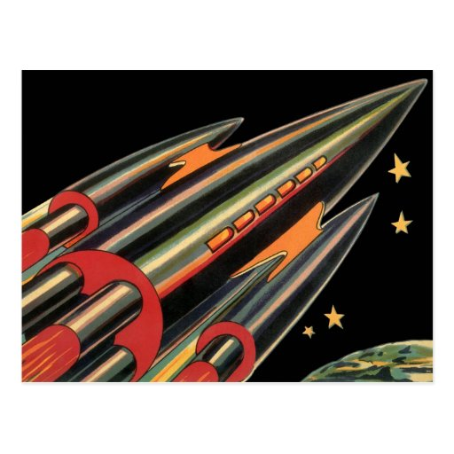Vintage Science Fiction Rocket Ship, Space, Stars Postcards