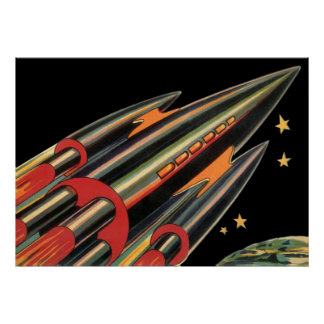 Vintage Science Fiction Rocket Ship Space Stars Posters