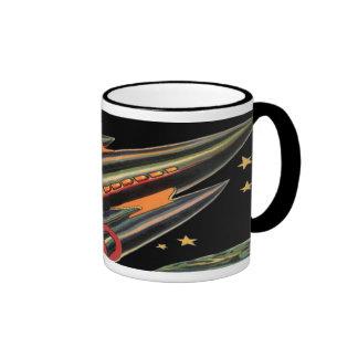 Vintage Science Fiction Rocket Ship with Stars Ringer Coffee Mug