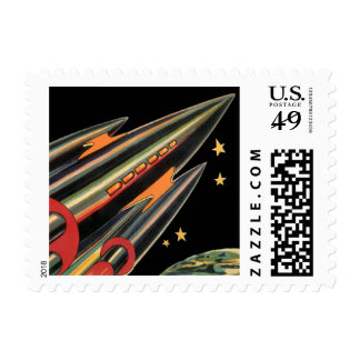 Vintage Science Fiction Rocket Ship with Stars Stamp