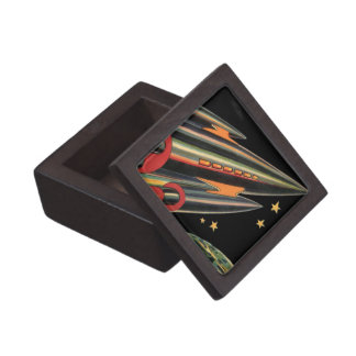 Vintage Science Fiction Rocket Ship with Stars Premium Gift Box