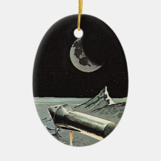 Vintage Science Fiction, Rocket Ships Moon Planets Ceramic Ornament