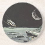 Vintage Science Fiction, Rocket Ships Moon Planets Coaster