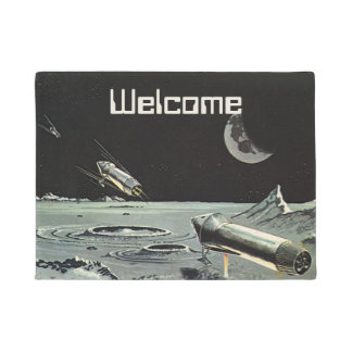 Vintage Science Fiction, Rocket Ships Moon Planets Doormat