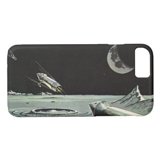 Vintage Science Fiction, Rocket Ships Moon Planets iPhone 8/7 Case